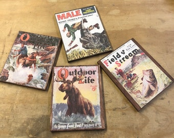 Vintage outdoor  magazine  cover artwork  distresses wall art home decors cottage chic