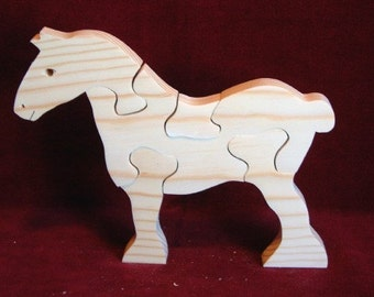 Pine Clydesdale (Draft Horse) Puzzle, Unfinished Pine