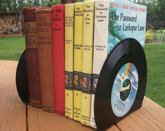 Record Bookends Book Ends for Office Desk Accessories Vintage Vinyl 45 Record