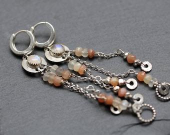 Moonstone Earrings Gemstone Earrings Sterling Silver Rainbow Moonstone Jewelry Silver Earrings Chandelier Gift for Her Celestial Jewelry