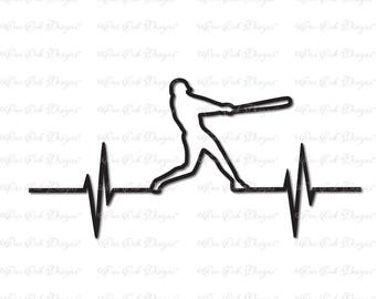 Baseball Player EKG Heartbeat SVG File svg / dxf / pdf / png / jpg for Cricut , Cameo, and other electronic cutting  machines