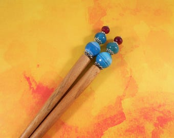 Cotton Candy  -  pink and blue agate hair sticks