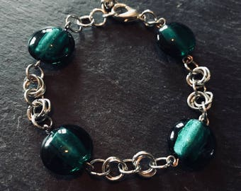 Handmade Chain Link Bracelet with large green glass beads