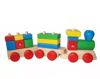 Wooden Puzzle train. Toys Wooden Train Handmade Puzzle