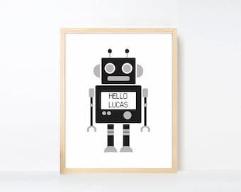 Personalized Robot Art Printable, Name Art Big Boy Room, Black White Nursery, Robot Nursery Art, Boy Playroom Decor, Nursery Robot Artwork