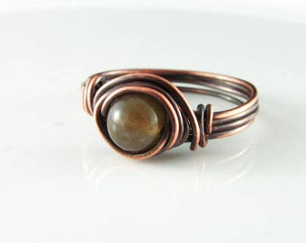 Wire Wrapped Ring Fancy Jasper Ring Copper Ring Wire Wrapped Jewelry Green Jasper Ring Copper Jewelry Copper Wire Wrap