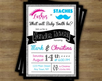 Staches or Lashes Gender Reveal Invitation Printable; Lashes or Staches; Stashes or Lashes; Gender Reveal Party Invitations;