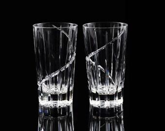 Vintage Mikasa Uptown Highball Glasses / Clear Cut Crystal Barware / MCM Glassware