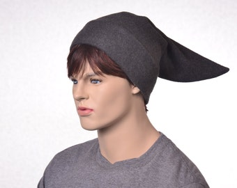Dark Gray Elf Hat Short Pointed Stocking Cap Costume Hat Charcoal Grey Dwarf
