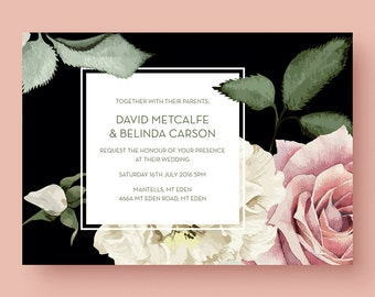 Large floral blooms - PRINTABLE wedding invitation