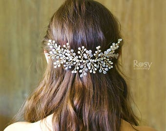Gold Hairpiece, Gold Hair Vine, Gold Wedding Crown, Gold Bridal Tiara, Headband, Crystals Freshwater Pearl Vine, Natural Pearl Vine