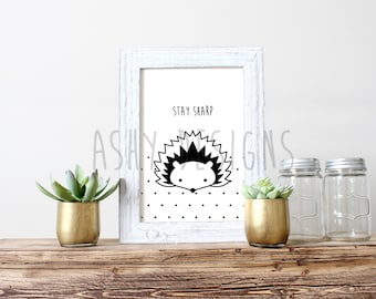 ECHIDNA - STAY SHARP - Australian Animal Funny Art Print - Aussie Pun Design - Melbourne Made - Set of 6 - Nursery Home Kitchen Bedroom Gift