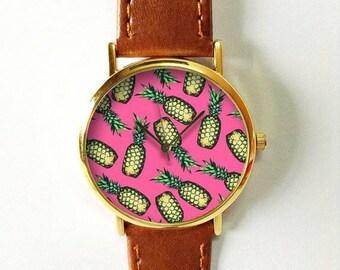 Tropical Fruit Pineapple Watch 3, Vintage Style Leather Watch, Women Watches, Boyfriend Watch, Pink