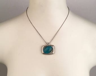 Modern Vintage Silver and Turquoise Pendant Necklace Minimalist 17 18 inch