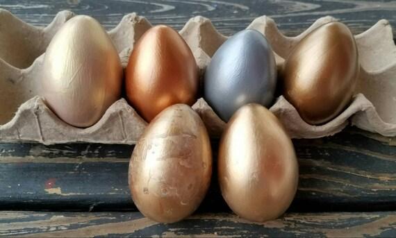 Decorative Easter Eggs, Easter Eggs, Metallic Eggs, Metal Leaf Eggs, Set of 6