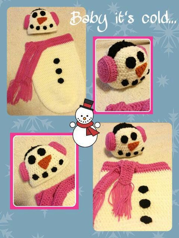 Baby Snowman Cocoon Girl Boy, Baby Snowman Earmuff Hat, Newborn Snowman Photo Prop, Newborn First Christmas Outfit, Newborn Frosty Snowman