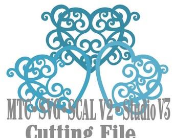 SVG Cut File Heart Flourish Set #05 Wedding Love Valentine Cricut Silhouette Cameo MTC SCAL Instant Download Cutting Files