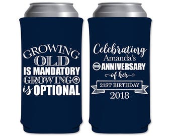 8.3oz Slim Can Coolers Insulators Custom Birthday Party Favors | Growing Old & Growing Up (1A) | Red Bull/Mich Ultra Slim | READ DESCRIPTION