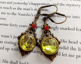 charteuse antiqued brass earrings with lever back ear wires victorian art deco