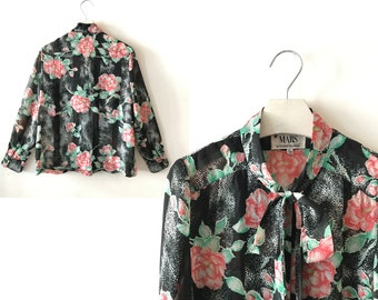 """Vintage floral blouse, size S / M """"Deonna"""", black and white red flower blouse, ascot blouse, vintage blouse, granny blouse, 70s clothing"""