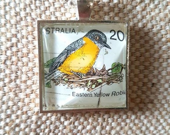 Eastern yellow robin bird stamp 20c necklace / upcycled Australian stamp pendant / silver plated with 24 inch chain / bird necklace jewelry