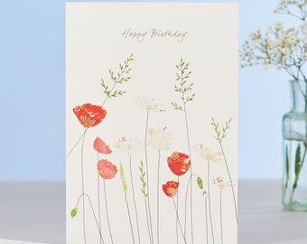 Poppies and Daisies Birthday Card