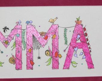 """Whimsical """"I Spy"""" kid's names. Pink """"Emma;"""" 16.5""""x9.5""""."""