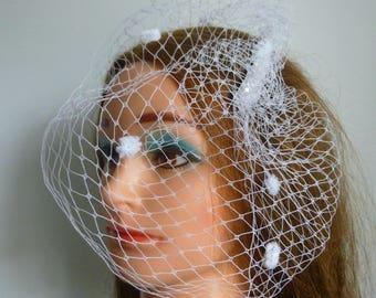 Dotted blusher birdcage Veil Vintage Inspired  - White