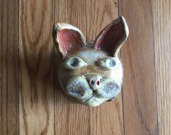 Vintage Cat Pottery Container