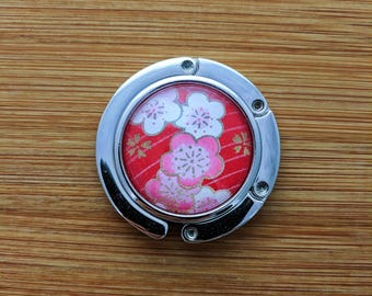 Metal Purse Hanger - Foldable Purse Hook - Yuzen/Chiyogami - Handmade - Blossoms on Red
