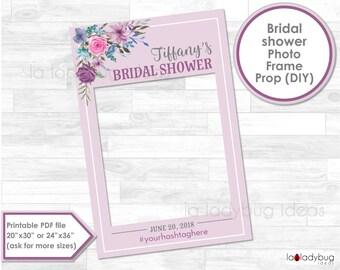 Purple bridal shower frame prop. Bridal shower photo frame prop. DIY PDF Printable file. Custom wedding prop. Frame for selfie station.