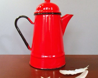 Red Enamel Coffee Pot, Rustic Coffee Pot. Camping Coffee Pot. Bright Red. Enamelware. Made in Poland