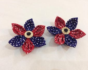 Fabric flower hairbands with diamente effect button centre ...set of 2 flowers.