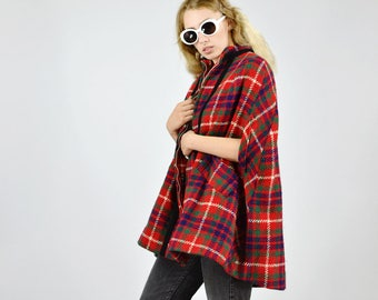 Vintage 60's Tartan Check Wool Zip UP Cape Jacket