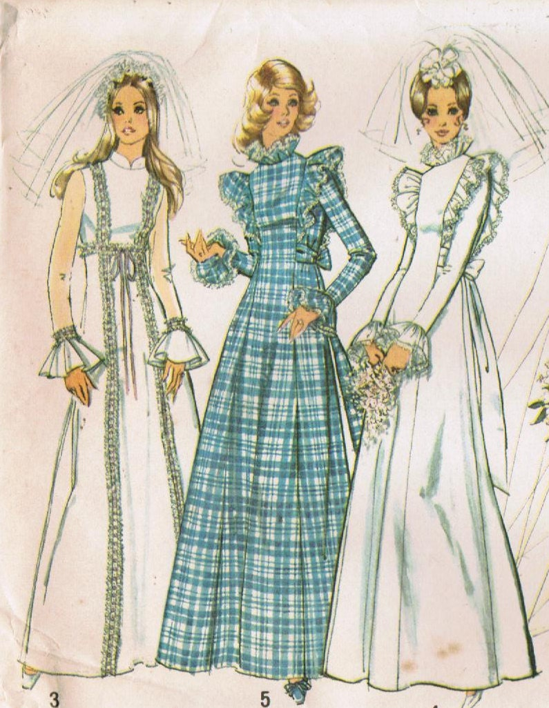 1970s Simplicity 5313 UNCUT Vintage Sewing Pattern Misses Wedding ...