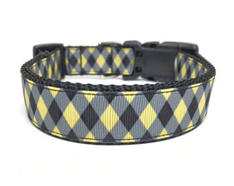 Checker Dog Collar - Yellow and Black Checker Dog Collar