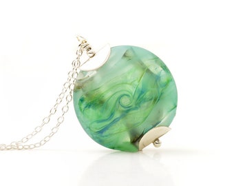 Lampwork Glass Necklace | Pale Greens Pendant Necklace | OOAK Handmade Flameworked Glass Necklace with Sterling Silver