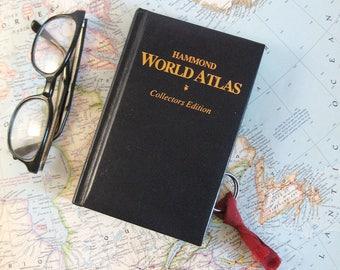 World Atlas - Secret Book Safe - Hidden Compartment - Hollow Book Box - Secret Stash Box - Navy Blue and Gold World Travel Decor Wanderlust