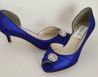 Blue Wedding Shoes Square Crystal Blue Bridal Shoes Blue Kitten Heels or 100 COLORS Blue Bridesmaid Shoes Cobalt Blue Shoes Royal Blue Shoes