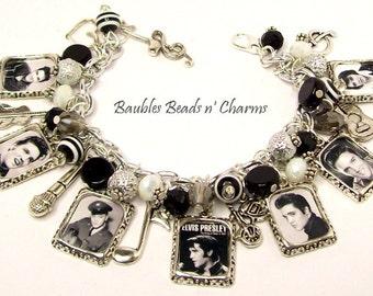 Elvis Presley Charm Bracelet, Elvis Bracelet, Elvis Charm Necklace, Elvis Jewelry, Statement Bracelet, Accessories, Rock and Roll
