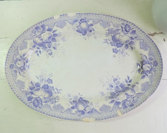 Antique Transferware Platter/ French Antique Creil Et Montereau Platter/ Ironstone Platter/Serving Platter/Shabby Chic Lavender Transferware