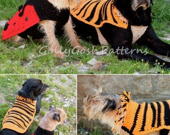 PDF Crochet Pattern for 2 Cute Style Dog Sweater/Jackets Ladybird and Lion  - Instant Download