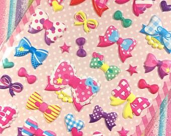 Kawaii bows sticker sheet - kawaii puffy sticker sheet