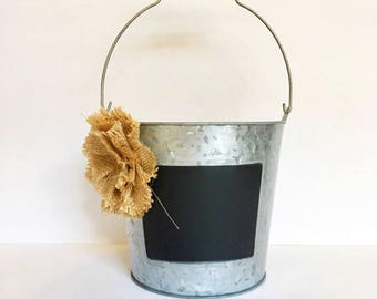 Chalkboard Bucket, Flower Bucket, Centerpieces, Wedding Centerpiece, Rustic Decor, Rustic Buckets, Table Numbers, Rustic Centerpieces.