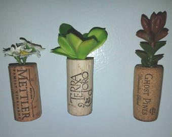 Faux,Wine Cork, Planters (Set of 3) Plant,Succulents,Plants,Wine Corks,Cork Art, Kitchen Decor,Cork Decor,Cork Crafts, Magnets,Planter