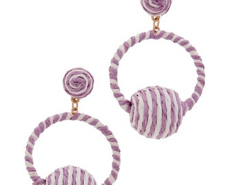 Assorted Colors - Raffia Wrapped Metal Ball Earrings
