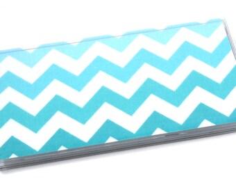Checkbook Cover Blue Chevron