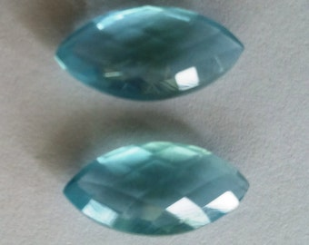 Natural Aquamarine Faceted Marquise Shape Briollets Pair