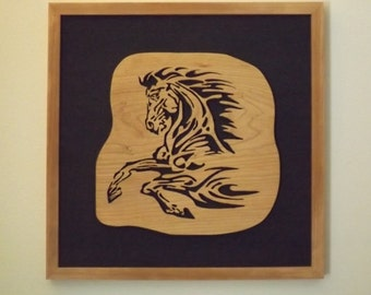 Fretwork Horse scrolled out of Cherry wood