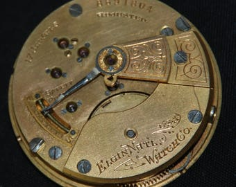 Gorgeous Vintage Antique Elgin Watch Pocket Watch Movement Steampunk Altered Art Assemblage Industrial SM 83